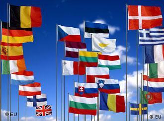 EU flags against a blue sky