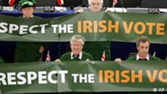 Eurosceptic members of the European Parliament display posters calling on the EU to respect the outcome of Ireland's recent referendum vote