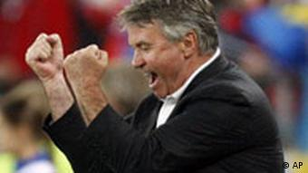 Russia's Dutch head coach Guus Hiddink celebrates his side's 2-0 win at the end of the the group D match between Russia and Sweden in Innsbruck