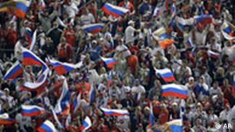 Russian fans celebrate during the group D match between Russia and Sweden in Innsbruck