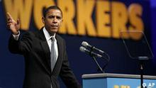 U.S. Sen. Barrack Obama, D-Ill., addresses the AFL-CIO's annual convention at Chicago's Navy Pier Monday, July 25, 2005. The Teamsters and a major service employees union on Monday bolted from the AFL-CIO, a stunning exodus for an embattled movement already struggling to build its ranks and cope with a rapidly changing work environment. (AP Photo/Charles Rex Arbogast)