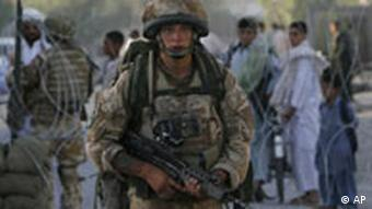 A British soldier with the International Security Assistance Force (ISAF)