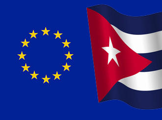 The EU and Cuban flags