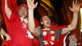 Fans of the Turkish national soccer team celebrated victory between Turkey and Croatia in Frankfurt