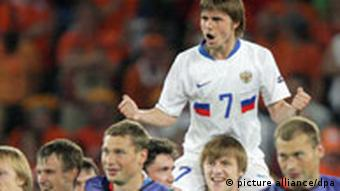 Dmitri Torbinski (C) of Russia jubilates with after the UEFA EURO 2008 quarter final match between Netherlands and Russia