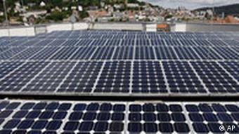 Photovoltaic solar cells are seen on the roof of the technology and congress center in Marburg,