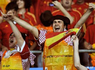 Spanish soccer fans cheering during Euro 2008