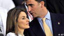 Spain's Prince Felipe, right, chats with his wife Princess Letizia prior to the semifinal match between Russia and Spain in Vienna, Austria, Thursday, June 26, 2008, at the Euro 2008 European Soccer Championships in Austria and Switzerland. (AP Photo/Martin Meissner)