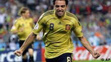 Spain's Xavi Hernandez celebrates after scoring his side's opening goal during the semifinal match between Russia and Spain in Vienna, Austria, Thursday, June 26, 2008, at the Euro 2008 European Soccer Championships in Austria and Switzerland. (AP Photo/Sergey Ponomarev)