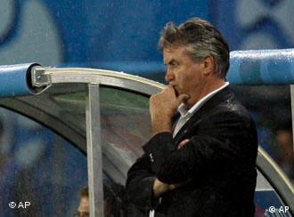Russia's Dutch head coach Guus Hiddink concentrates watching the semifinal match between Russia and Spain in Vienna