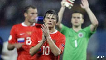 Russia's Andrei Arshavin reacts at the end of the semi-final match between Russia and Spain