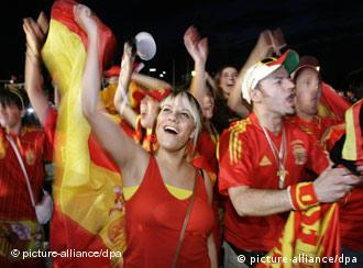 Spanish fans celebrating in the street