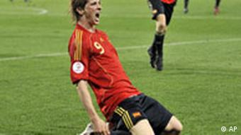 Spain's Fernando Torres reacts after scoring during the Euro 2008 final between Germany and Spain