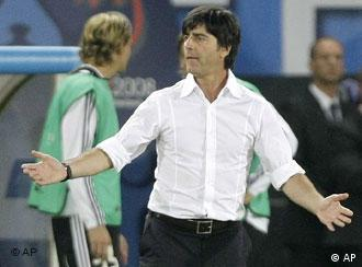 Germany's head coach Joachim Loew reacts during the Euro 2008 final between Germany and Spain
