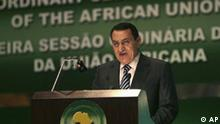 Egyptian President Hosni Mubarak delivers a speech during the opening session the eleventh ordinary session of the assembly of the African Union heads of State and government in Sharm el-Sheikh, Egypt, Monday, June 30, 2008. The African Union summit has opened in the Red Sea resort of Sharm el-Sheikh with longtime Zimbabwe ruler President Robert Mugabe in attendance. (AP Photo/Nasser Nasser) Afrika, Afrikanische Union, Politik, Diplomatie, Ägypten