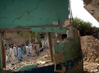 A bomb-damaged building on the Afghanistan-Pakistan border