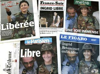 Le Figaro's front-page spread proclaimed hostage Ingrid Betancourt free at last