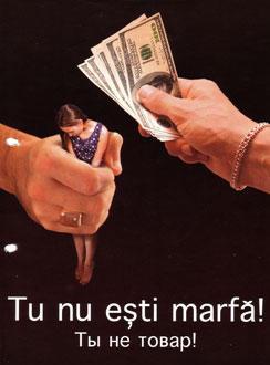 Cartaz contra tráfico humano na Moldávia