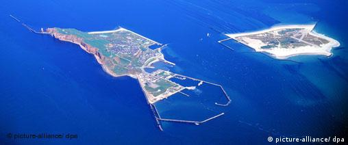An aerial view of Helgoland's two islands