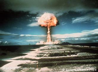 Nuclear explosion after a weapons test in Polynesia
