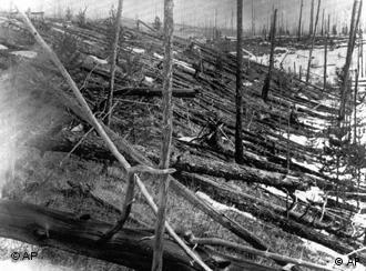 Trees lay strewn across the Siberian countryside 45 years after a meteorite struck the Earth near Tunguska, Russia in 1953. The 1908 explosion leveled everything for miles near the impact site. (AP Photo)