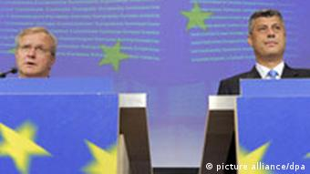 European Union enlargement commissioner Olli Rehn and Kosovo Prime Minister Hashim Thaci