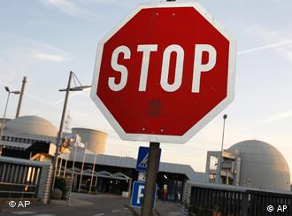 A stop sign outside Biblis nuclear power plant in Germany