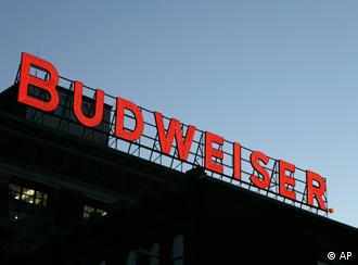 A giant sign saying Budweiser at the firm's St Louis factory