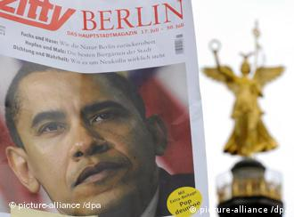 magazine cover with Obama and Berlin's Victory Column