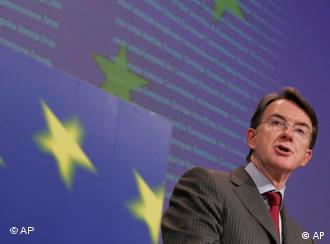 European Union Commissioner for Trade Peter Mandelson speaks during a media conference at EU headquarters in Brussels, Thursday July 17, 2008. Troubled global trade talks are a crucial test for how a new world order can handle future world challenges such as climate change and food supply, the EU's trade chief said Thursday. Mandelson said talks between World Trade Organization nations in Geneva next week were happening at a time of huge reordering of the global economy and politics and would test their ability to strike a deal. (AP Photo/Virginia Mayo)