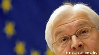 Steinmeier in front of an EU flag