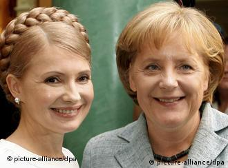 Ukrainian Prime Minister Yulia Tymoshenko and German Chancellor Angela Merkel