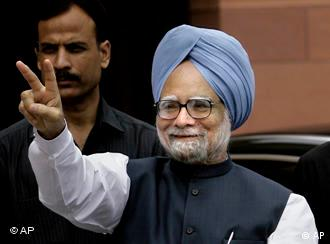 Indian Prime Minister Manmohan Singh at parliament house in New Delhi