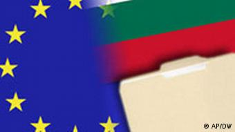 Collage of European and Bulgarian flags with a file folder