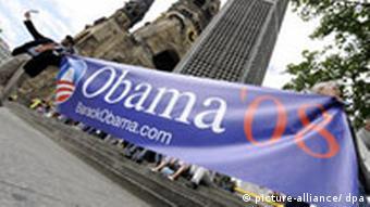 A purple banner for Obama's speech in Berlin