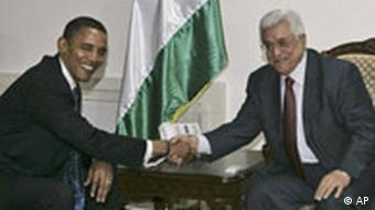 Democratic presidential candidate Sen. Barack Obama, D-Ill., left, shakes hands with Palestinian President Mahmoud Abbas