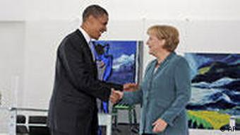 Democratic presidential candidate Sen. Barack Obama, D-Ill., left, greets with German Chancellor Angela Merkel