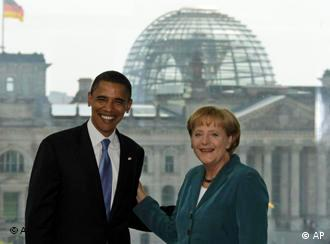 Barack Obama to Berlin welcomed by German Chancellor Angela Merkel in July.