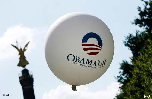 A balloon of a supporter of U.S. Democratic presidential candidate Sen. Barack Obama, D-Ill. flies next to the victory column in Berlin