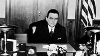Federal Bureau of Investigation head J. Edgar Hoover in his office in Washington