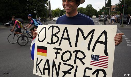 A supporter of U.S. Democratic presidential candidate Sen. Barack Obama