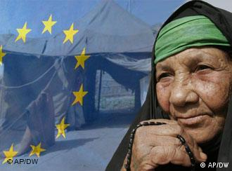 Photo collage of European Union flag superimposed over refugee camp with a female refugee