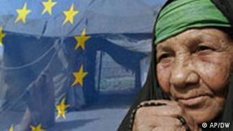 Symbolic picture of an Iraqi refugee woman with the European flag as a backdrop.