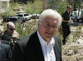 Foreign Minister Frank-Walter Steinmeier in Herat, Afghanistan, July, 2008.