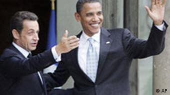 Barack Obama with French President Nicolas Sarkozy