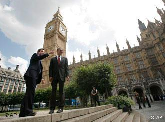 Presidential contender Barack Obama talking with Britain's Conservative party leader David Cameron outside the Houses of Parliament in London in July 2008