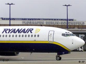 A Ryanair airplane at Schoenefeld airport in Berlin
