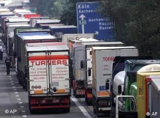 Trucks on autobahn