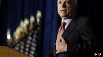 Republican presidential candidate John McCain makes a campaign stop at the American GI Forum Convention in Denver, Colorado on July 25, 2008