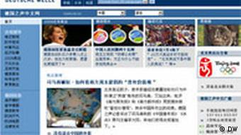 Screenshot of dw-world.de/chinese
